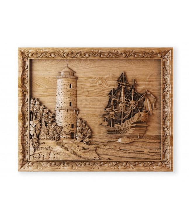 Панно «Корабль у маяка»