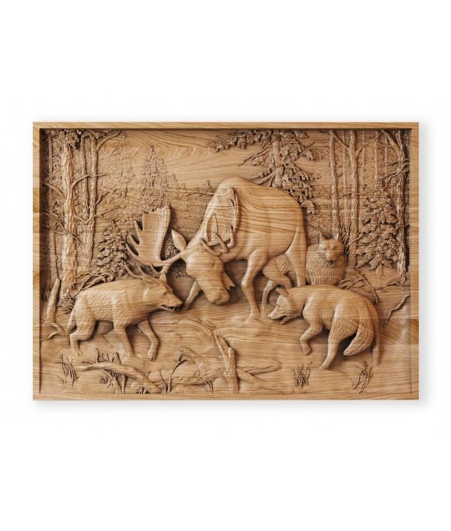 Панно «Охота на лося»