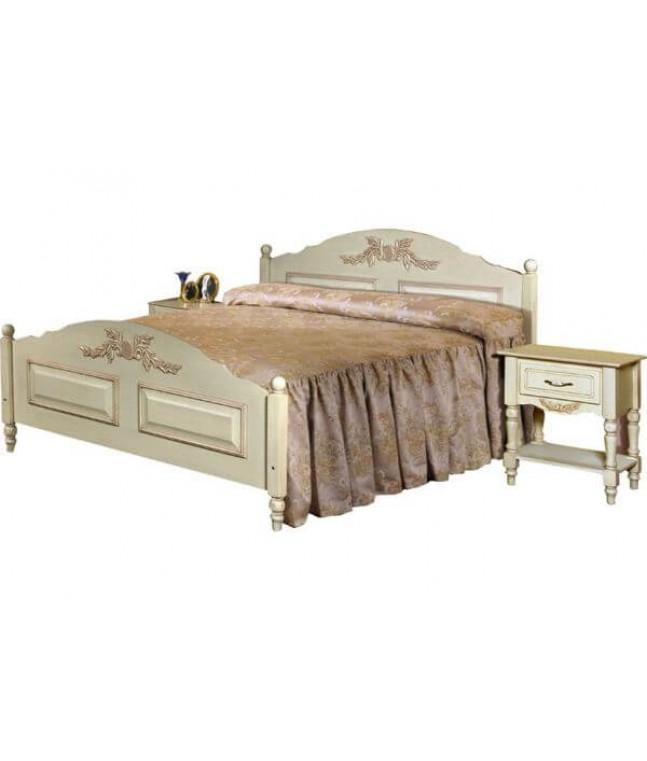 Кровать двойная Фиерта 3-02.1 с высокой ножной спинкой